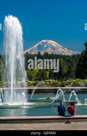 View over Mount Rainier from University of Washington, Seattle, Washington, USA - Stock Photo