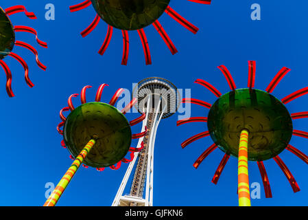 The Sonic Bloom solar-powered art installation with Space Needle behind, Pacific Science Center, Seattle, Washington, - Stock Photo