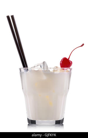 White russian cocktail in old fashioned glass isolated on white background - Stock Photo