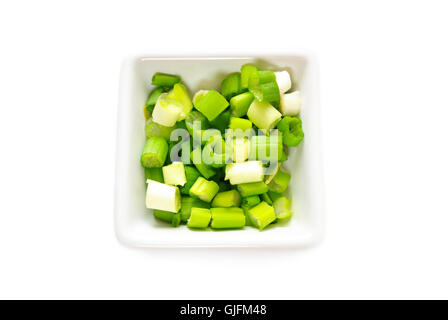 Flavorful Green Onion Sliced in a White Bowl - Stock Photo