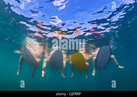 Young active girls surfing in bikini - surfers sit on surf boards, wait for big ocean wave. Underwater photo of - Stock Photo