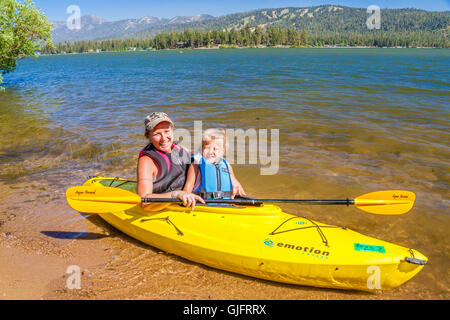 Mother and girl in kayak on Big Bear Lake in Southern California - Stock Photo