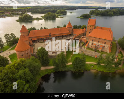 Trakai, Lithuania: Island Castle in the sunset - Stock Photo