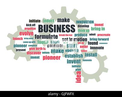 business related words and gears abstract vector illustration - Stock Photo
