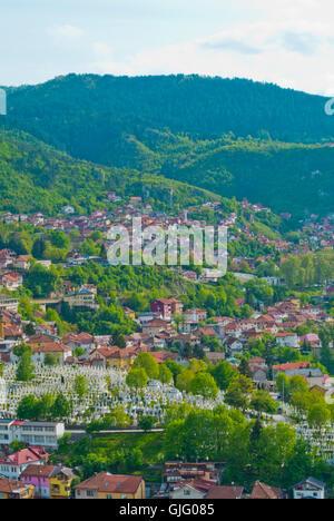 View towards Bistrik and Hrid districts, from Zuta Tabija, Yellow Fortress, Sarajevo, Bosnia and Herzegovina - Stock Photo