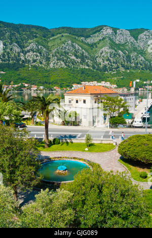 View from Kampana tower, towards Port Authority building and the bay of Kotor, Kotor, Montenegro - Stock Photo