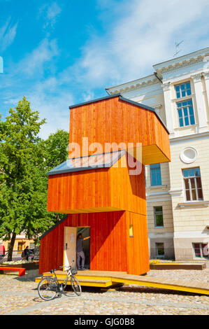 Suomen arkkitehtuurimuseo, Museum of Finnish Architecture, with wooden KoKoon building, Helsinki, Finland - Stock Photo