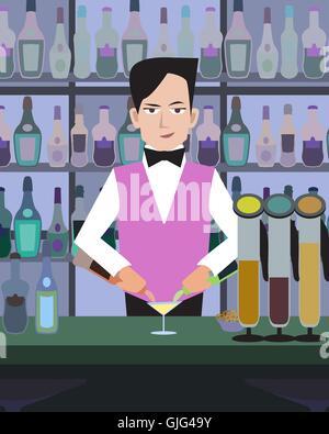 barman serves drinks at bar - cartoon colorful illustration - Stock Photo