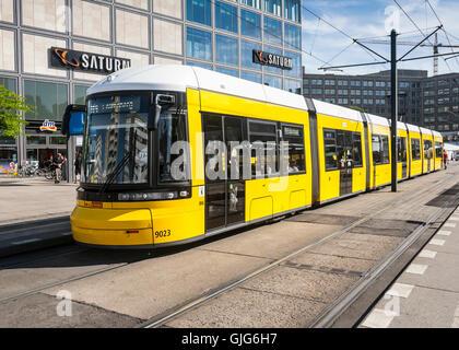 Yellow Tram at Alexanderplatz, Mitte, Berlin, Germany.