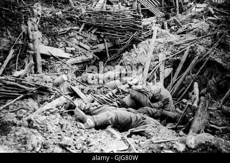 Smashed up German trench on Messines Ridge with dead soldiers, Battle of Ypres, Belgium, World War One - Stock Photo