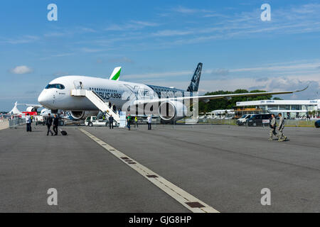 BERLIN, GERMANY - JUNE 02, 2016: The newest Airbus A350-900 XWB at the airfield. Exhibition ILA Berlin Air Show - Stock Photo