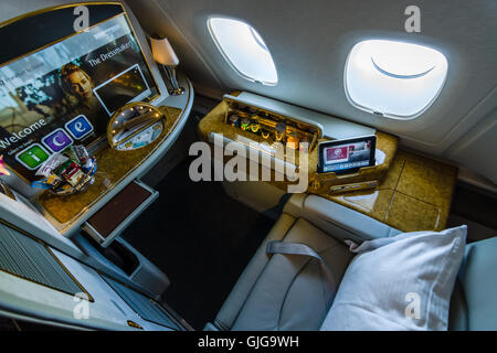 ... Interior Of First Class Of The Worldu0027s Largest Aircraft Airbus A380.  Emirates Airline.