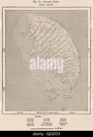 Scorpion Reef Alacran Reef Arrecife Alacranes Mexico 1885 old map Yucatan