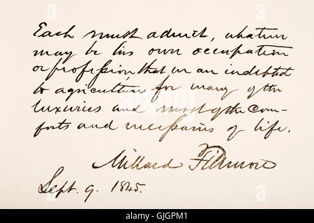 Millard Fillmore, 1800 - 1874. 13th president of the United States of America.  Hand writing sample. - Stock Photo