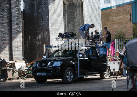 Birmingham, UK. 16th August, 2016. Filming of the movie Ready Player One Directed by Steven Spielberg in Digbeth. - Stock Photo