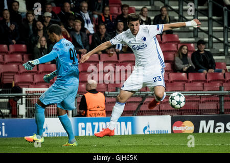 Denmark, Copenhagen, August 16th 2016. Andrija Pavlovic (23) of FC Copenhagen during the UEFA Champions League play - Stock Photo