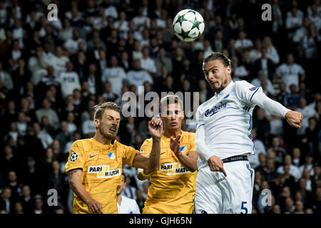 Denmark, Copenhagen, August 16th 2016. Erik Johansson (5) of FC Copenhagen during the UEFA Champions League play - Stock Photo
