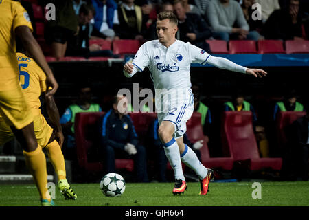 Denmark, Copenhagen, August 16th 2016. Peter Ankersen (22) of FC Copenhagen during the UEFA Champions League play - Stock Photo