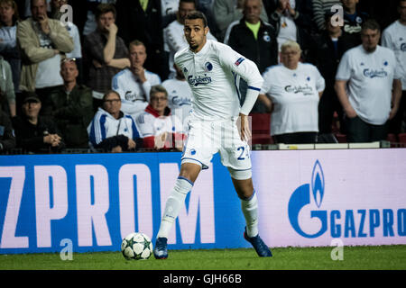 Denmark, Copenhagen, August 16th 2016. Youssef Toutouh (24) of FC Copenhagen during the UEFA Champions League play - Stock Photo
