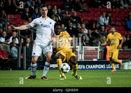 Denmark, Copenhagen, August 16th 2016. Benjamin Verbic (7) of FC Copenhagen during the UEFA Champions League play - Stock Photo