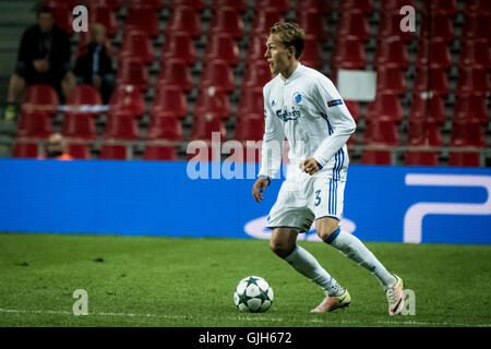 Denmark, Copenhagen, August 16th 2016. Ludwig Augustinsson (3) of FC Copenhagen during the UEFA Champions League - Stock Photo