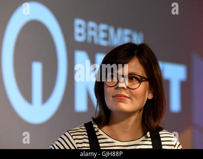 Bremen, Germany. 17th Aug, 2016. Bremen Next editorial director Felicia Reinstaedt giving a press conference for - Stock Photo