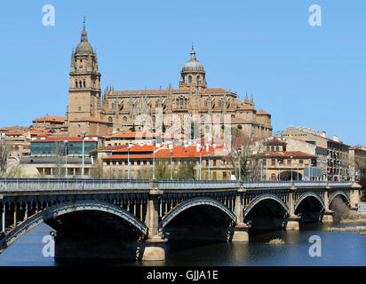 View at the bridge over the river rio Tornes with the cathedral of Salamanca. The old city of Salamanca is an Unesco - Stock Photo