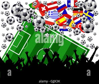 flags countries field - Stock Photo