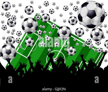 fussball playing field and fans - Stock Photo