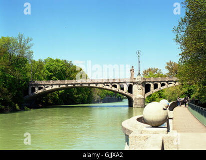 the maximilian bridge in munich - Stock Photo