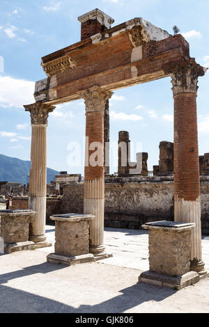Ruins of the ancient Roman city of Pompeii on a summer's day. - Stock Photo