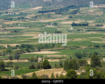 The Corbieres wine region in Languedoc Roussillon in the south of France - Stock Photo