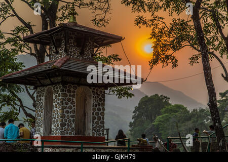 Temple at sunset in Pokhara, Nepal - Stock Photo