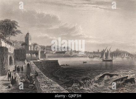 Port of GENOA GENOVA. 'Gênes'. Boats/ships. Italy, antique print 1855 - Stock Photo