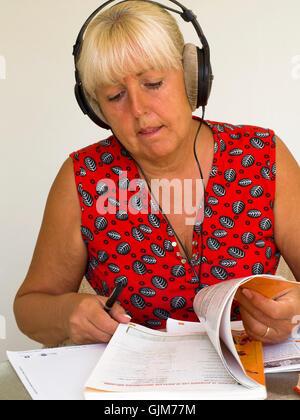 senior education - learning languages - Stock Photo