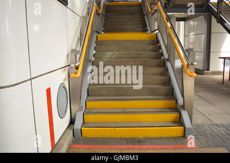 Flight of Stairs at an Overground Station - Stock Photo