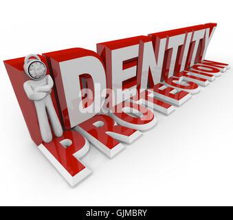 Identity Protection - Combination Lock Man - Stock Photo
