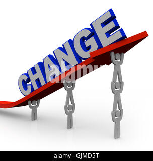 Team Lifts Word Change to Transform and Succeed - Stock Photo