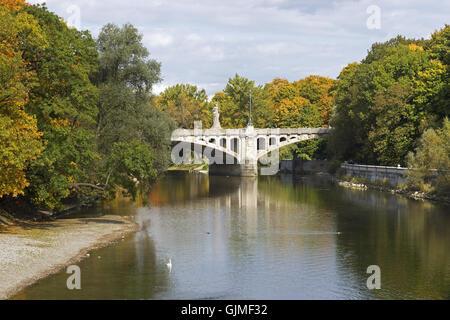 bridge munich river - Stock Photo