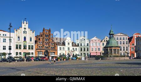 wismar - market place - Stock Photo
