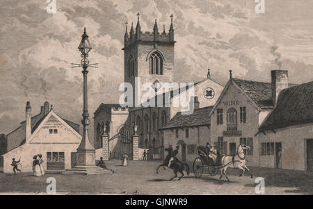 St. Elphin's Church, Warrington. Rebuilt 1859. Ring O'Bells Pub. HARWOOD, 1829 - Stock Photo
