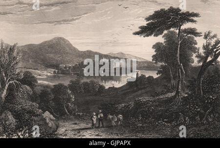 Linlithgow Palace & Loch. Scotland, antique print 1845 - Stock Photo