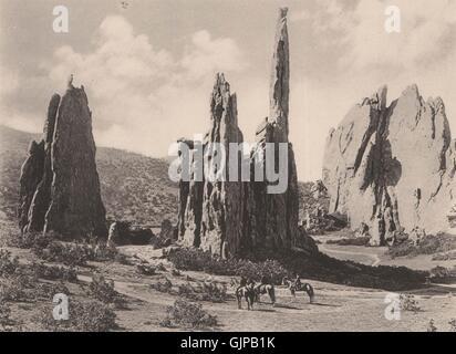 Cathedral Spires, Garden of the Gods, Colorado. Albertype print, print 1893 - Stock Photo