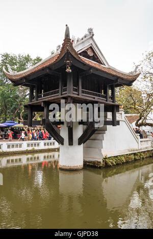 Hanoi, Vietnam - February 23, 2016: Tourists visiting the One Pillar Pagoda of Hanoi in Vietnam - Stock Photo