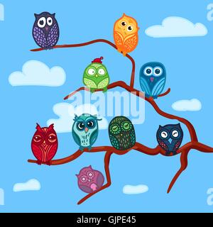 Hand  Drawn Funny Owl on Branch. Owls Meeting for print, fabric, wrap and illustration, game, web and children's - Stock Photo