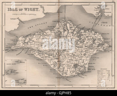 ISLE OF WIGHT map by DUGDALE/ARCHER. Seats polling places, 1845 - Stock Photo