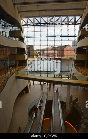Copenhagen, Denmark - July 23, 2016: Interior of the Royal Library, also known as The Black Diamond - Stock Photo