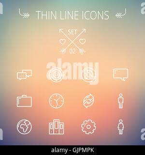 Technology thin line icon set - Stock Photo