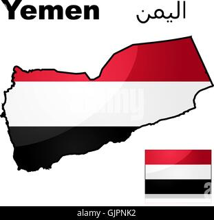Yemen flag and map - Stock Photo