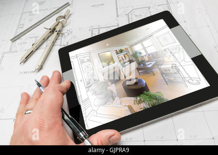 Hand of Architect on Computer Tablet Showing Living Room Illustration Photo Combination Over House Plans, Compass - Stock Photo